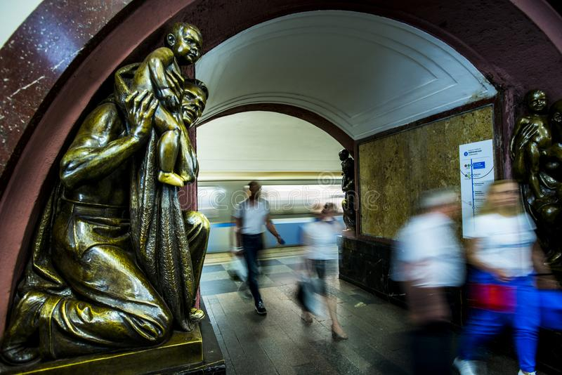 Bronze sculpture in the famous russian revolution metro station, moscow, russia royalty free stock photo