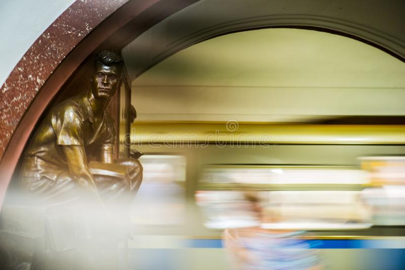 Bronze sculpture in the famous russian revolution metro station, moscow, russia royalty free stock photos
