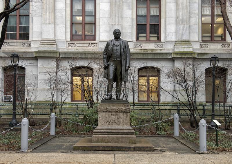 Bronze sculpture of John Christian Bullit, City Hall, Philadelphia, Pennsylvania. Pictured is a bronze sculpture of John Christian Bullitt by City Hall in royalty free stock photo