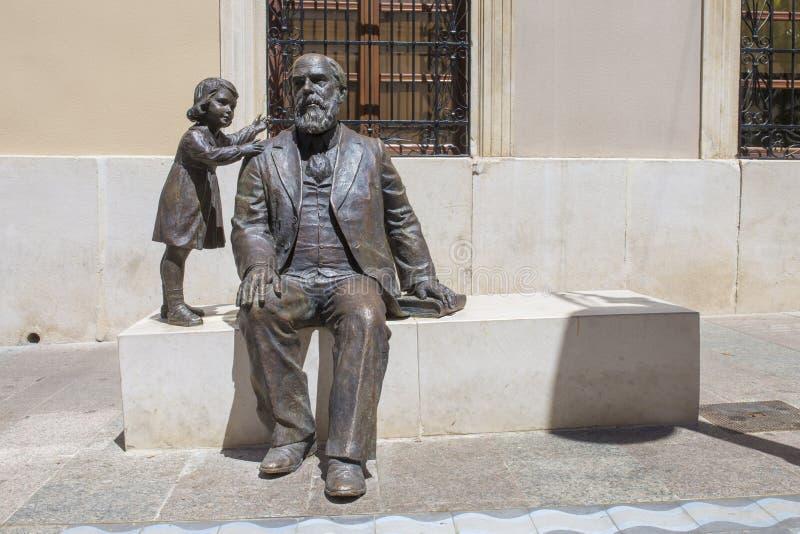 Bronze sculpture of Martin Belda, great 19th Century politician born in Cabra, Spain royalty free stock photo