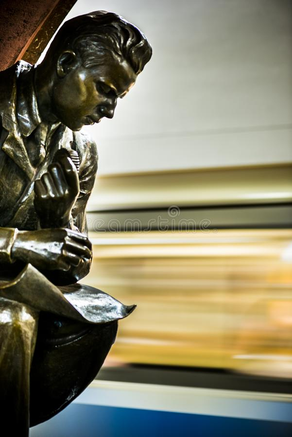 Bronze sculpture in the famous russian revolution metro station, moscow, russia. Bronze sculpture at the Metro station Revolution Square Ploshad Revolutsi stock photography