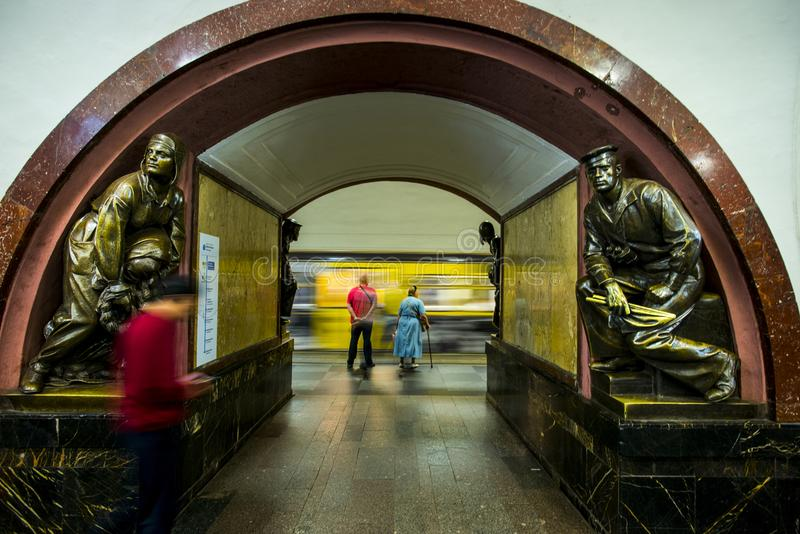 Bronze sculpture in the famous russian revolution metro station, moscow, russia royalty free stock image