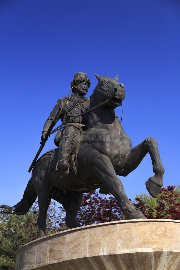 Bronze sculpture of Pitu Guli at Zena Park, Skopje, Macedonia royalty free stock photos
