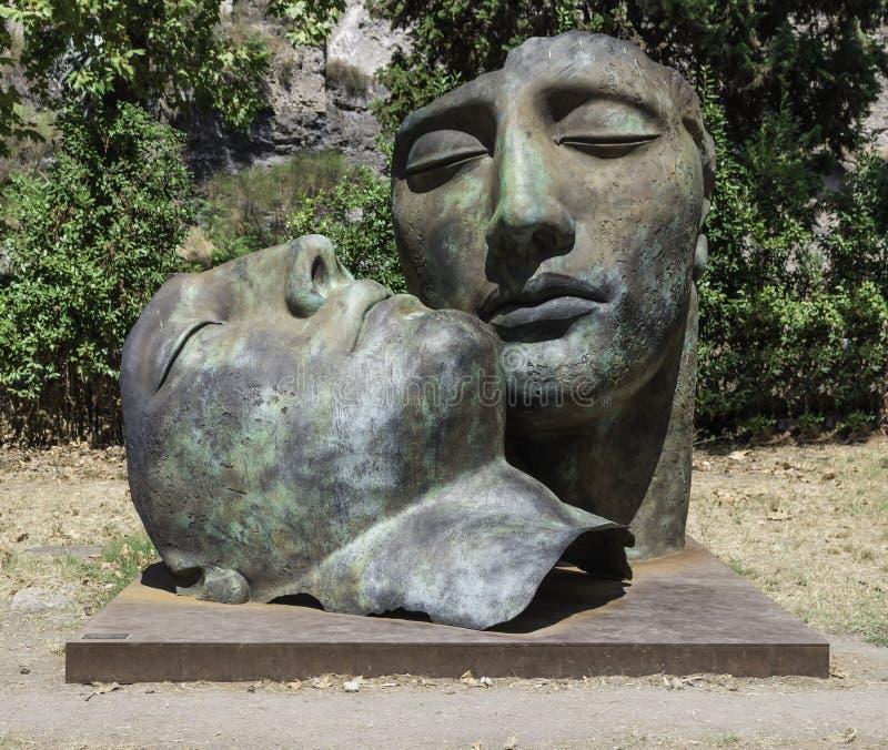 Bronze sculptures by artist Igor Mitoraj at Pompeii ruins stock images