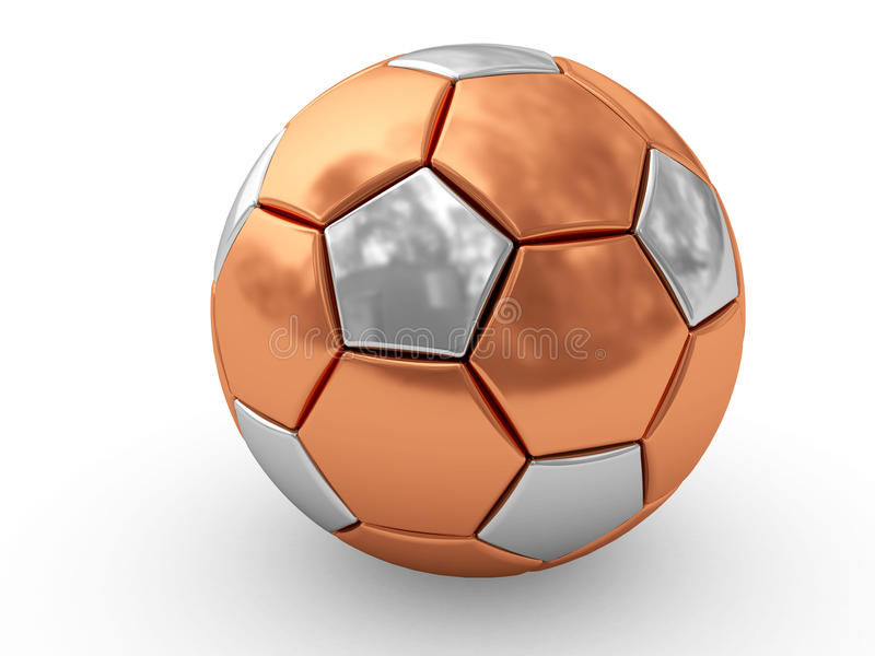 Bronze soccer ball on white. Background rendered with soft shadows. High resolution 3D image royalty free illustration