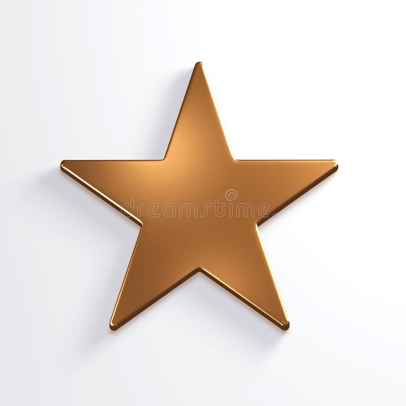 Bronze Star Icon. 3D Render Illustration. Bronze Star Icon. Conccept for Luxury and Wealth royalty free illustration