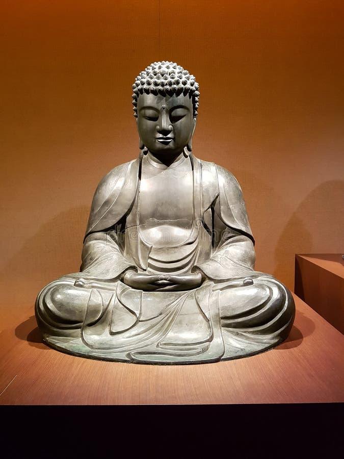 Bronze-Statue Amida Nyorai Buddha stockfoto