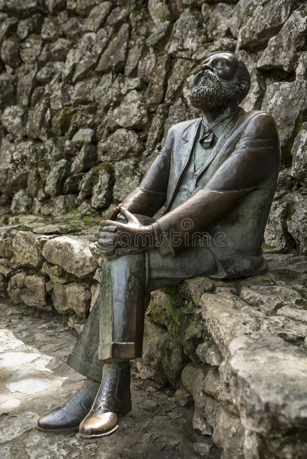 Bronze statue of Antonio Gaudi In La Villa Quijano, popularly Known as El Capricho, Comillas, C royalty free stock photos