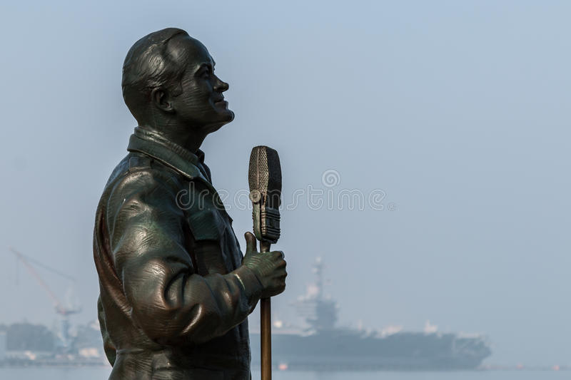 Bronze Statue of Bob Hope in San Diego, California stock image