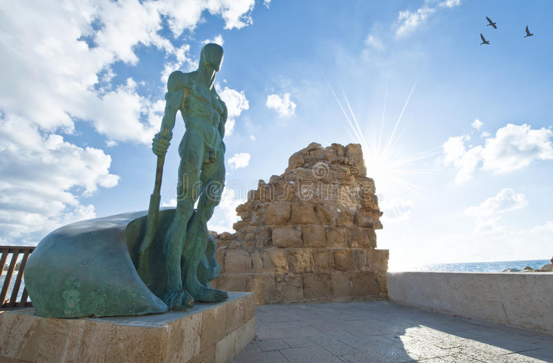 Bronze Statue in Caesarea Park. Bronze statue in the park. Caesarea,Israel royalty free stock photos