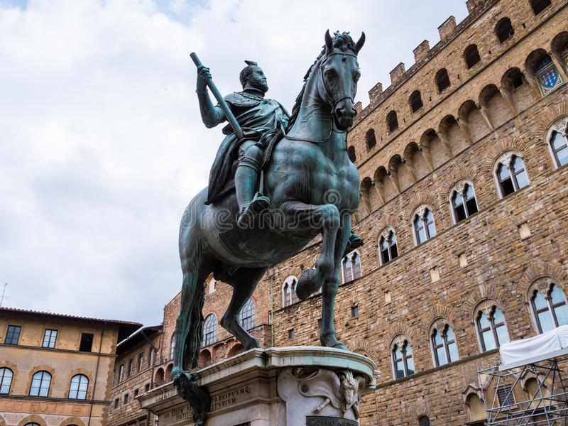 Bronze statue of Cosimo Medici. Sitting on a horse, in a square near the Palazzo Vecchio in Florence, Italy royalty free stock photography
