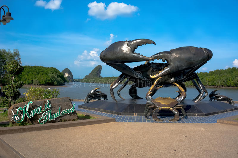 Bronze statue of a crab royalty free stock photography