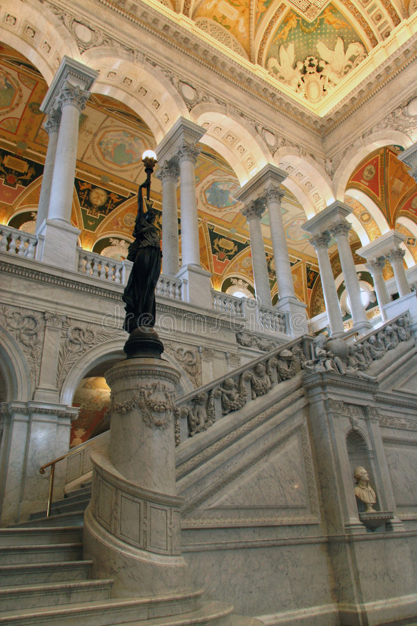 Bronze Statue in the Entrance Hall to the Library of Congress royalty free stock photography