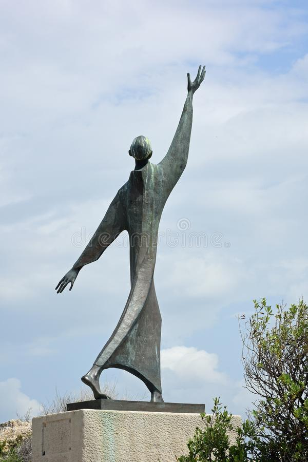 Francesco d`Assisi Sculpture, Monte Urpinu, Cagliari, Sardinia, Italy royalty free stock images