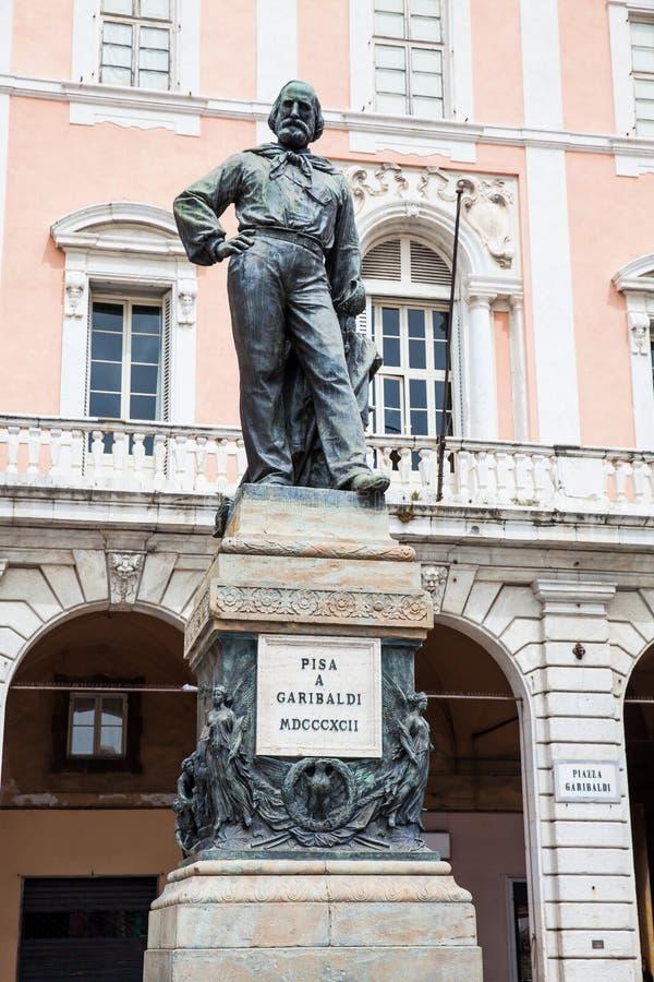 Statue of Giuseppe Garibaldi made in 1892 by Ettore Ferrari at Garibaldi Square in Pisa. Bronze statue of Giuseppe Garibaldi made in 1892 by Ettore Ferrari at stock photo