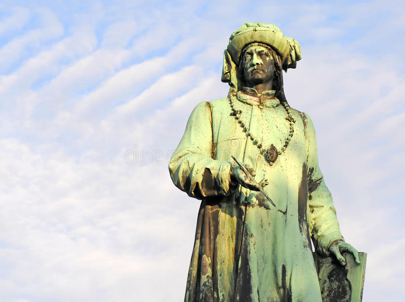 Statue of Jan van Eyck royalty free stock images