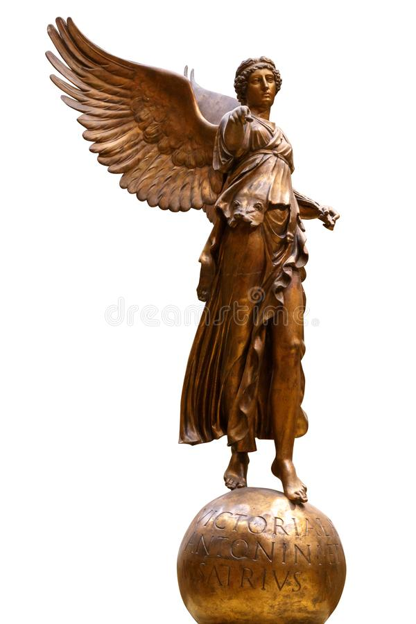 Free Bronze Statue Of A Winged Victory. Frontal View Of A Statue Of The Goddess Nike, Isolated On White Background By Royalty Free Stock Photos - 160051768