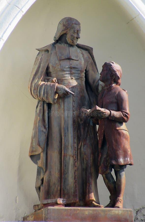 Bronze Statue Of St. John Baptist de La Salle. Bronze statue of Saint John Baptist de La Salle at the St Michael`s Institution school building - a heritage site royalty free stock image