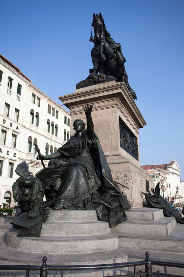 Bronze statue in Venice. Bronze statue part of Vittorio Emanuele king of Italy monument stock images
