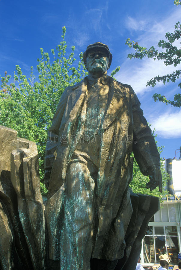 Bronze statue of Vladimir Lenin by Emil Venkov, Slavic artist, Seattle, WA stock images