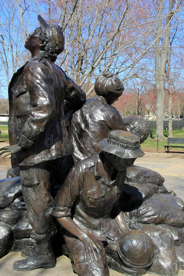 Bronze statue of women who risked their lives,Vietnam Woman's Memorial,Washington,DC,2015. Moving scene in bronze statue,The Vietnam Women's Memorial stock images
