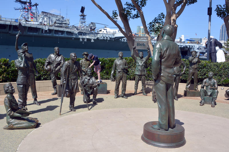 : Bronze statues of A National Salute to Bob Hope and the Military. SAN DIEGO CA USA APRIL 8 2015: Bronze statues of A National Salute to Bob Hope and the royalty free stock image