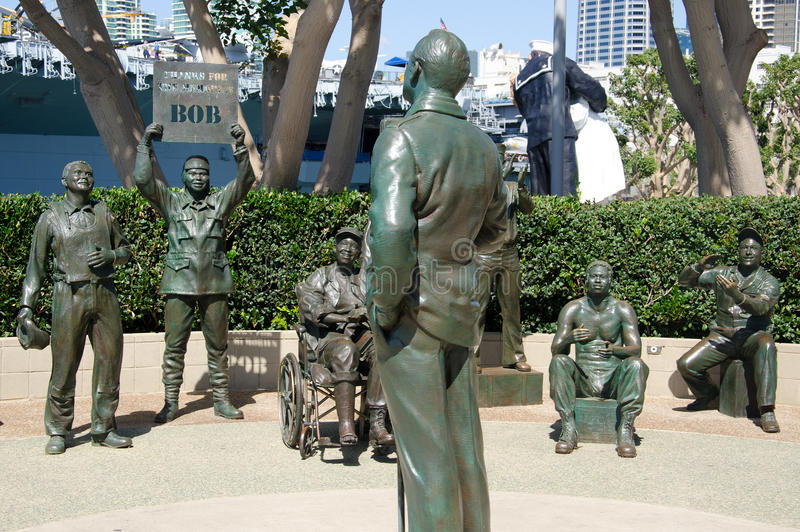 Bronze statues of A National Salute to Bob Hope. SAN DIEGO CA USA APRIL 8 2015: Bronze statues of A National Salute to Bob Hope and the Military. On the plaza royalty free stock photography