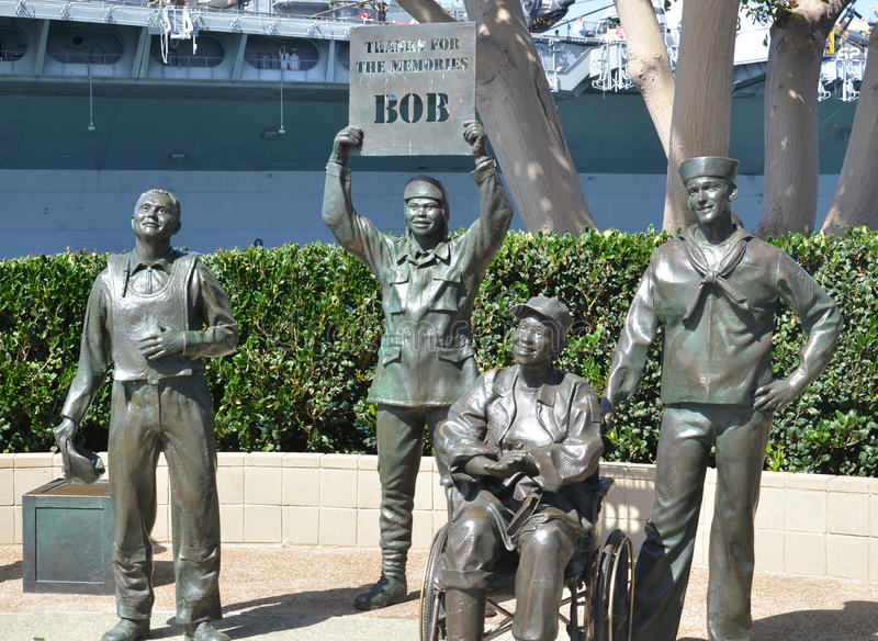 Bronze statues of A National Salute to Bob Hope. SAN DIEGO CA USA APRIL 8 2015: Bronze statues of A National Salute to Bob Hope and the Military. On the plaza royalty free stock image