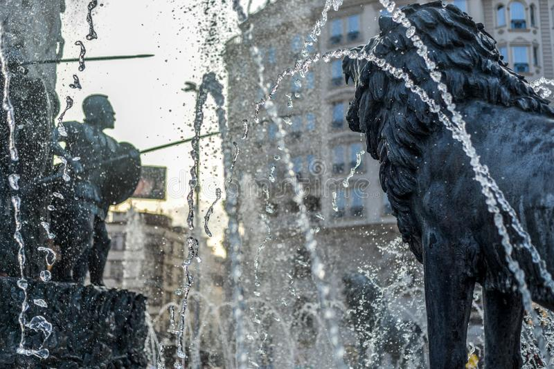 Bronze statues surrounded by spray and water jets,Skopje,Macedonia royalty free stock photo