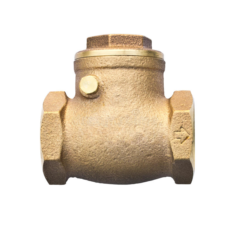 Bronze swing check valve isolated on white backgro. Bronze swing check valve (non return valve) for sanitary, plumbing and cooling system royalty free stock image