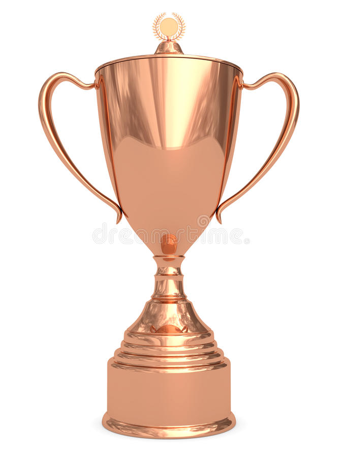 Download Bronze trophy cup on white stock illustration. Image of honor - 13563635