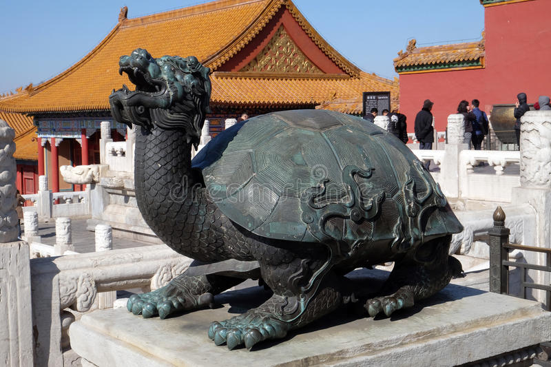Bronze turtle in the imperial palace which stands for power and long life, Forbidden city in Beijing. China royalty free stock images