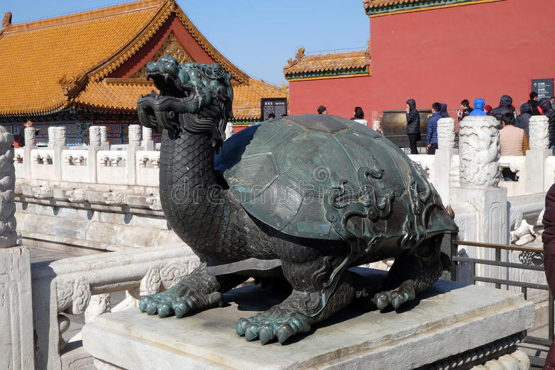 Bronze turtle in the imperial palace which stands for power and long life, Forbidden city in Beijing. China royalty free stock image