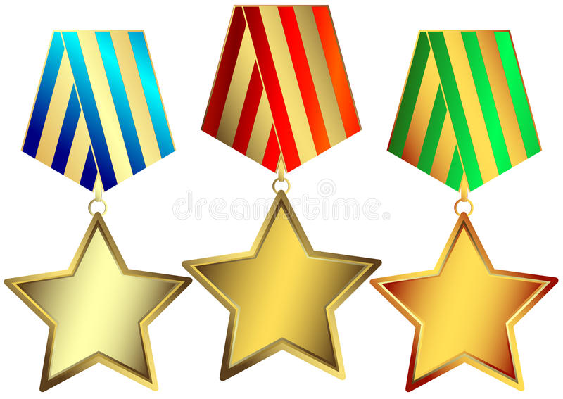 bronze vektor för guldsilverstjärnor royaltyfri illustrationer