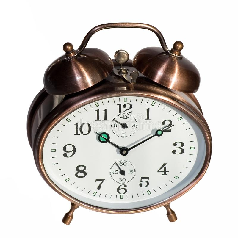 Bronze vintage alarm clock royalty free stock photo