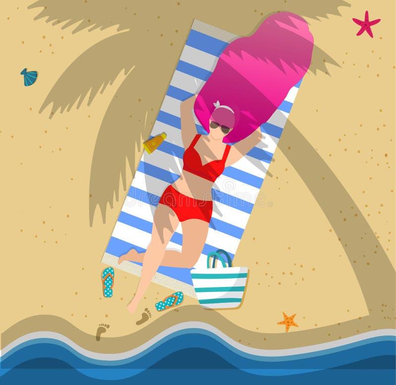 Bronzeando-se a mulher na praia, lazer do ver?o, recurso ilustração royalty free