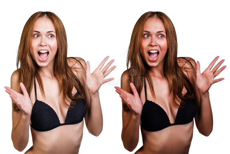 Bronzear-se antes e depois imagens de stock royalty free