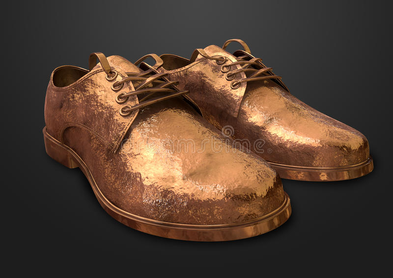Download Bronzed Pair Of Shoes stock illustration. Image of metal - 25684946