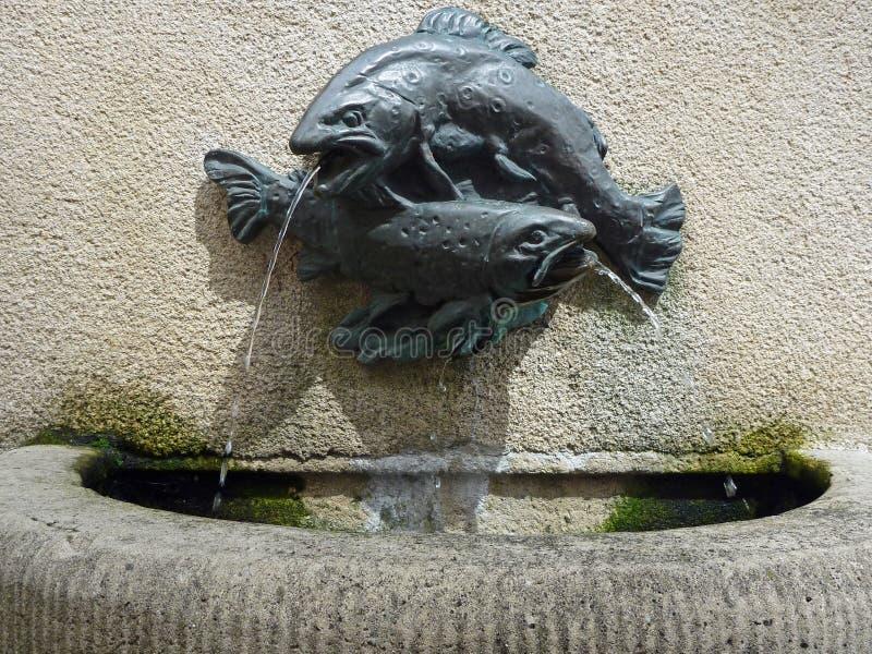 Bronzefisch-Brunnen lizenzfreies stockbild
