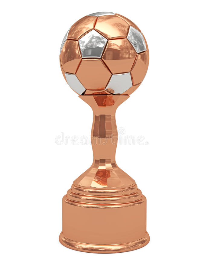 Bronzefußballkugeltrophäe auf Bedienpult lizenzfreie abbildung