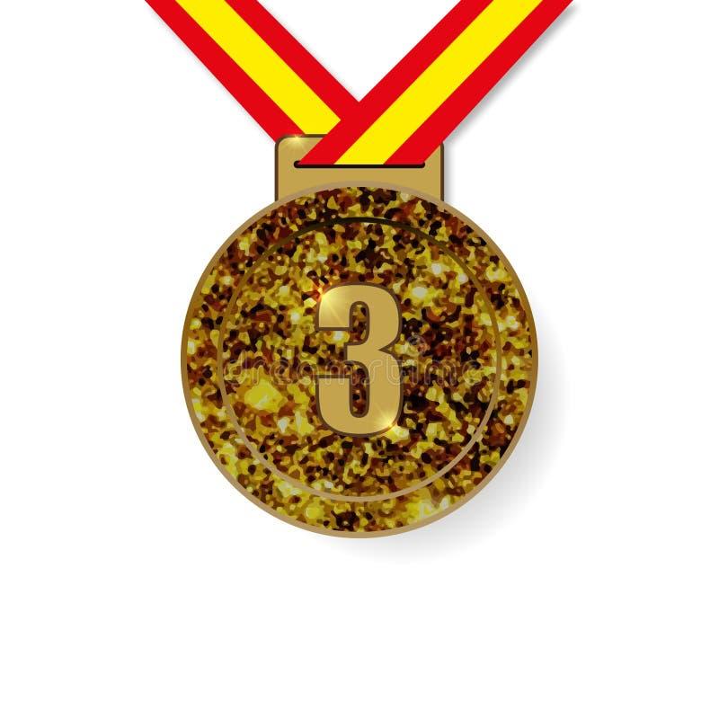 Bronzemedaille des dritten Platzes lizenzfreie abbildung