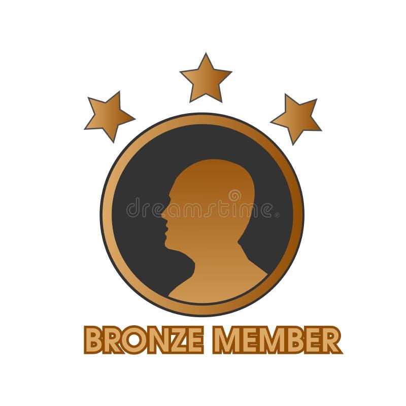 Bronzemitglied mit Menschen- und Sternikone, Netzikone stock abbildung
