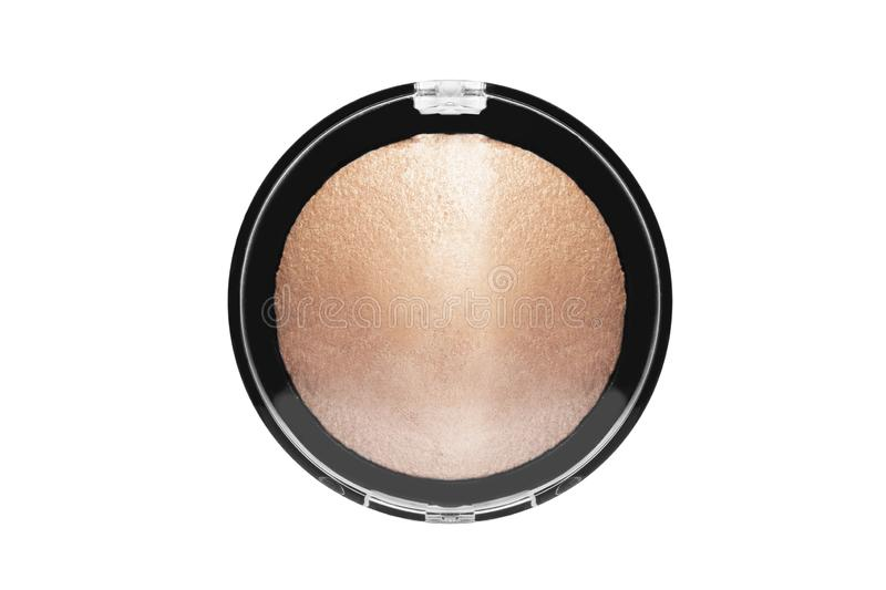 Bronzer box isolated. Shiny powder bronzer in a box on white background royalty free stock images