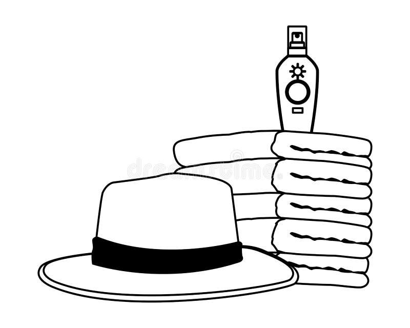 Bronzer del sombrero y del sol del verano en las toallas llenadas en blanco y negro libre illustration