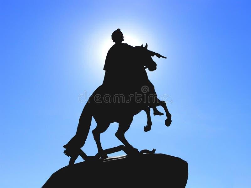 Bronzereiter, Skulptur, Schattenbild, Monument zu Peter The Great stockbilder
