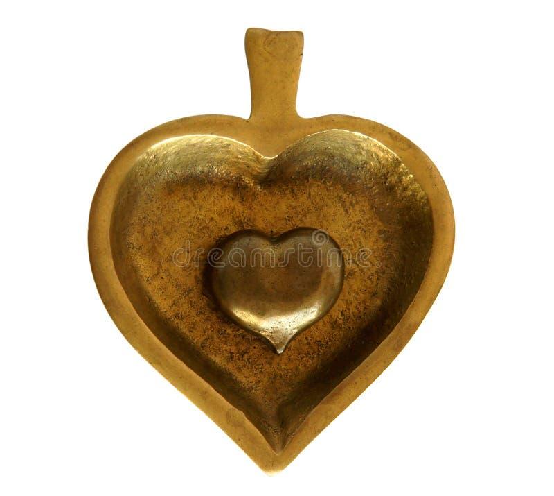 Bronzeschatulle Spaten und Herz stockfotos
