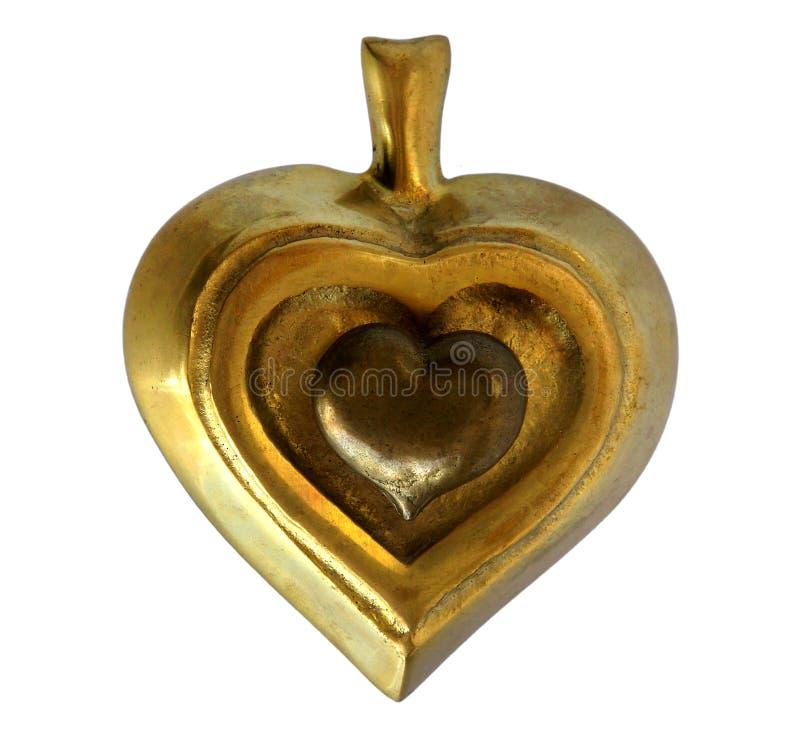 Bronzeschatulle Spaten und Herz lizenzfreie stockfotos