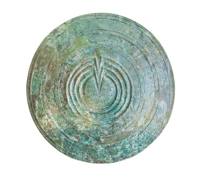 Bronzeschild im Delphi-Museum, Griechenland stockbild