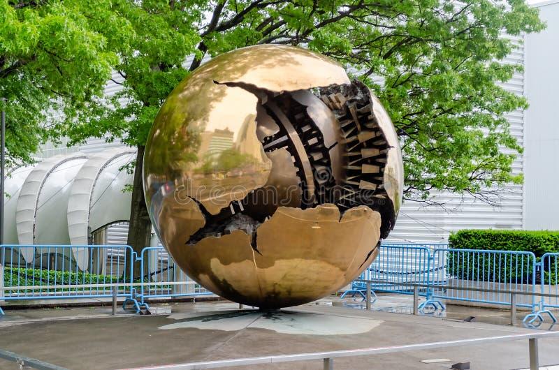 Bronzeskulptur an UNO lizenzfreies stockbild
