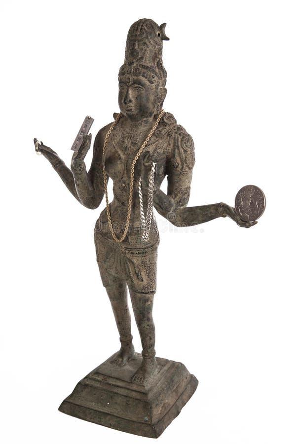 Bronzestatue der hinduistischen Göttin Lakshmi lizenzfreie stockfotografie
